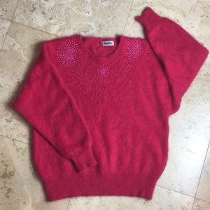 Vintage Big Star Angora Wool Sweater Beaded L
